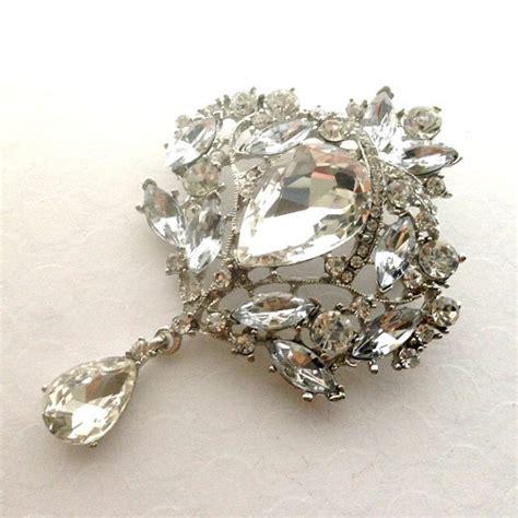 Sc13 Polkadot large silver rhinestone flower brooch by aliciasoddities