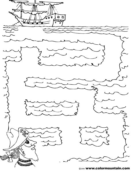 printable pirate maze free pirate mazes coloring pages