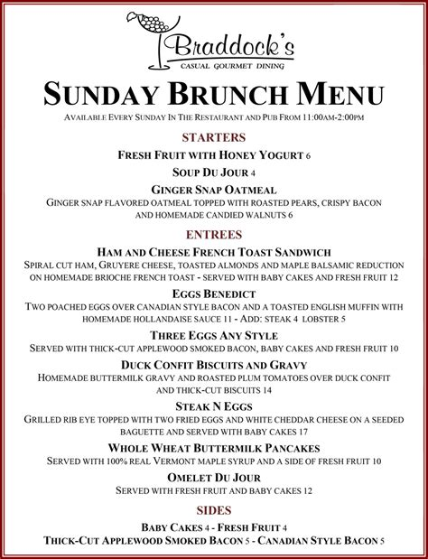 Sunday Brunch Braddocks Menu For Brunch Buffet
