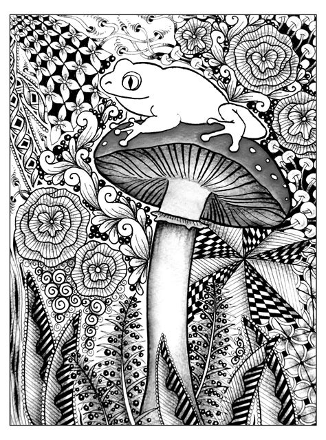 Frog on a mushroom - Flowers Adult Coloring Pages