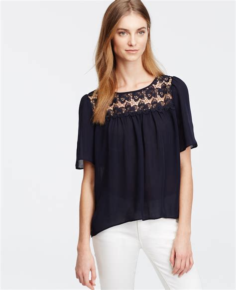 Keira Top Lace Blouse Hijaber shirred lace yoke top in blue lyst