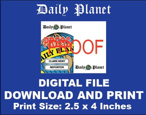 Galerry printable daily planet press pass
