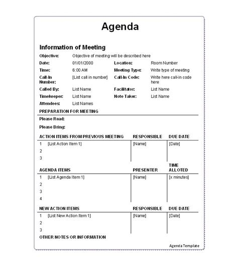 action meeting minutes template