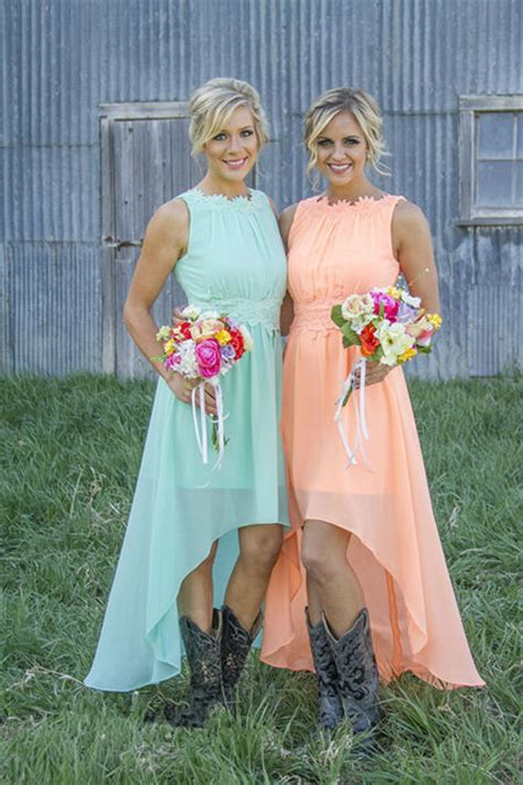 country style bridesmaids dresses coral mint green colored scoop high low applique chiffon