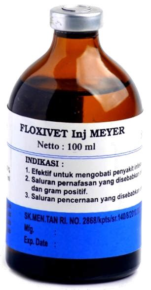 Obat Cacing Verm O floxivet c 10 inj obat hewan makmur