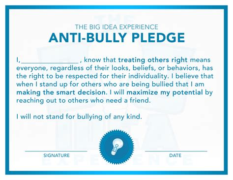 Big Ideas The Big Idea Experience Anti Bullying Contract Template