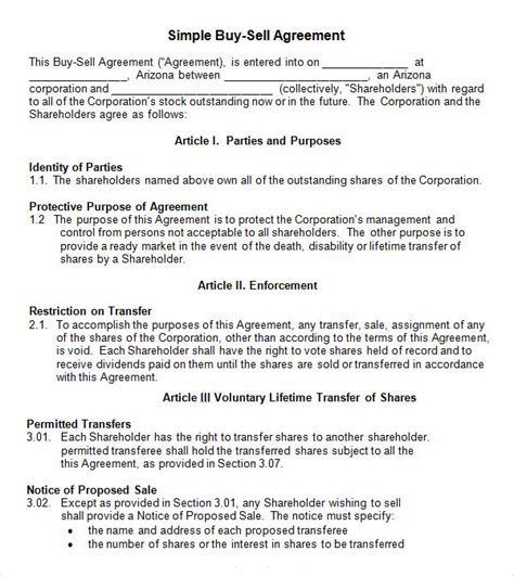 Buy Sell Contract Template 17 Sle Buy Sell Agreement Templates Sle Templates