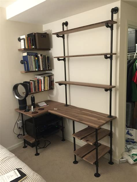 Desk Shelving Ideas Industrial Pipe And Walnut L Shaped Desk With Shelves Pallet Desk Pinterest Pipes