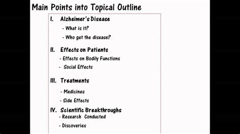 Topical Outline Template by Creating A Topical Outline From Out Of The Mainpoints