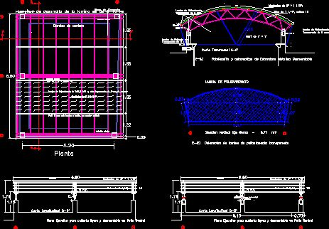 roof metallic roller structure dwg block  autocad