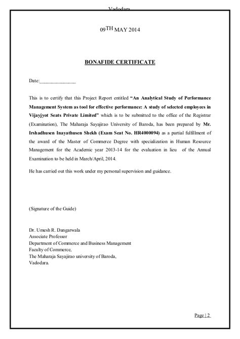 Mba Project Bonafide Certificate by Bonafide Certificate Sle For Project Report Gallery