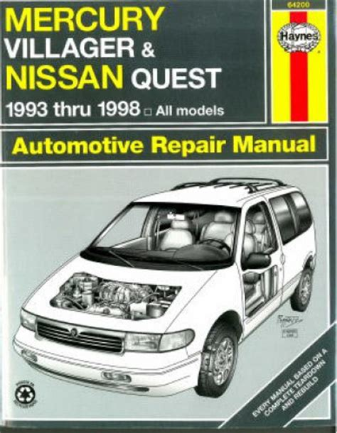 service manual 1993 mercury villager free repair manual service manual 1997 nissan quest haynes mercury villager nissan quest 1993 1998 auto repair manual