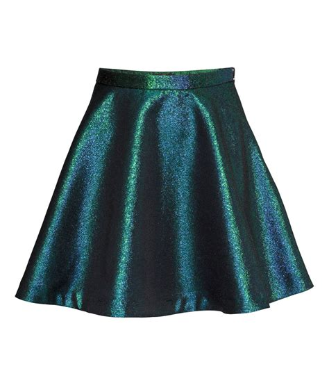 h m metallic skirt in green lyst