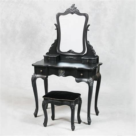Occasional Black Stool by Style Antique Black Dressing Table Mirror And