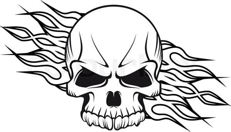 fire skull coloring page human skull with flames stock vector colourbox