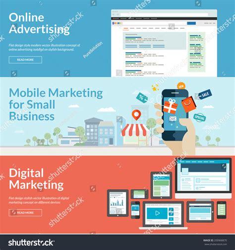 design online market set flat design concepts marketing concepts stock vector