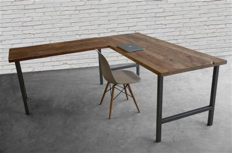 Custom Desk Made In L Shape With Reclaimed Wood And Hand Reclaimed Wood L Shaped Desk