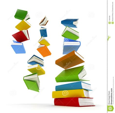 the of falling books colored books with clear cover falling in pile stock photo