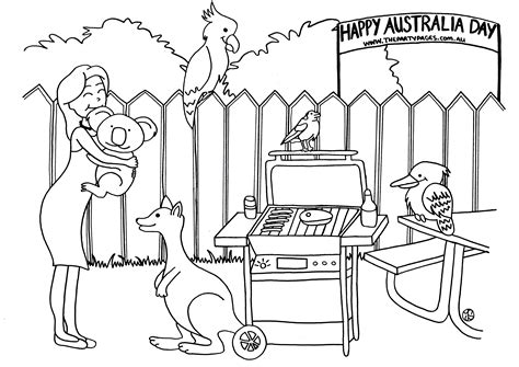 australian themed pages coloring pages
