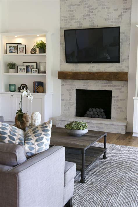 contemporary farmhouse brick fireplace www