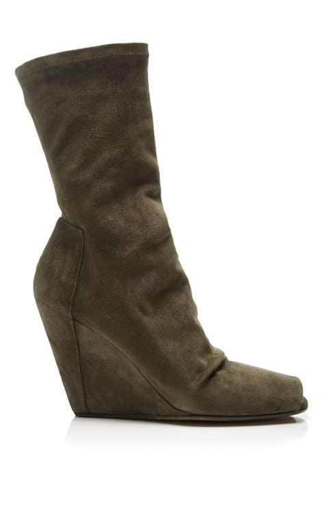 rick owens green suede wedge ankle boots with open toe in