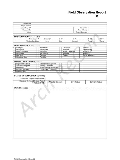 Field Observation Report Template Architect Field Report Template