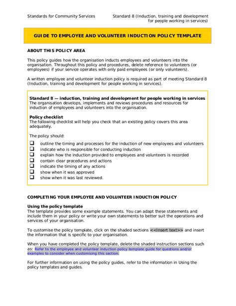 volunteer policy and procedures template 8 1 employee and volunteer induction policy guideline