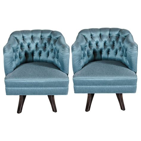 Pair Of Mid Century Modernist Tufted Back Swivel Chairs In Teal Swivel Chair