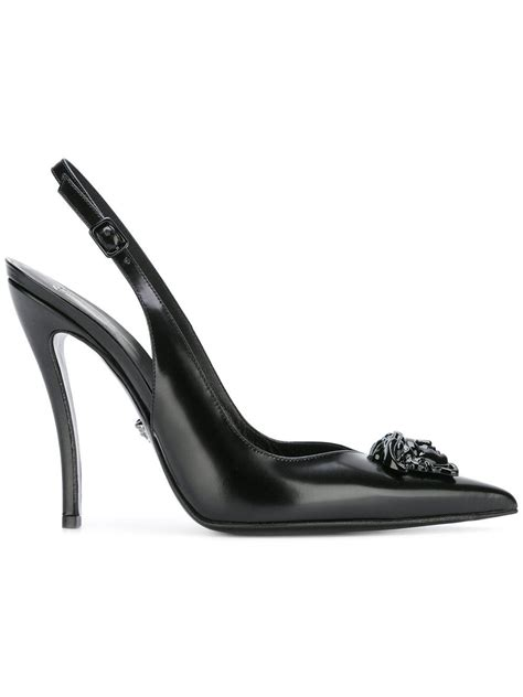 Booth Wedges Versace 918 versace medusa slingback pumps in black lyst