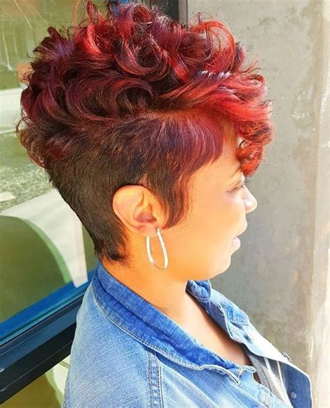 nice hairstyles and colors red short cut with curls colored dyed hair pinterest