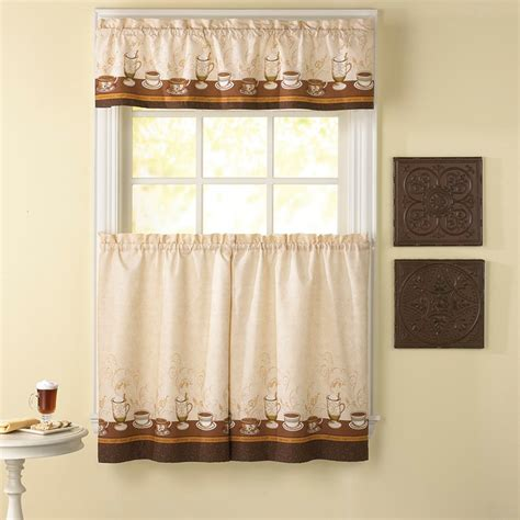 Cafe Curtains For Kitchen Cafe Coffee Window Curtain Set Kitchen Valance Tiers
