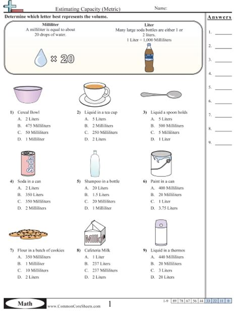 Measuring Mass Worksheet by Measuring Volume Worksheet Worksheets