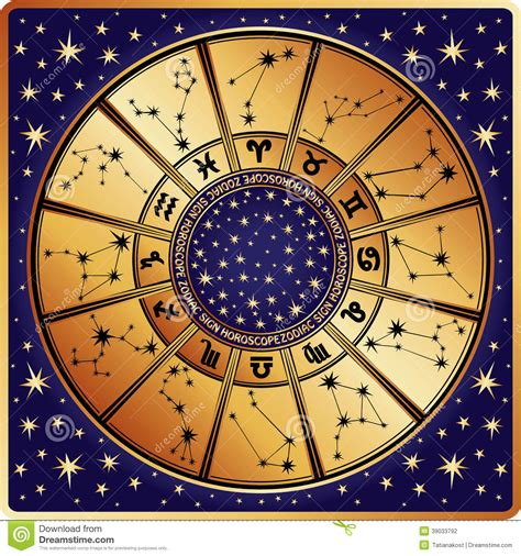 illuminati segni horoscope circle zodiac sign and constellations stock