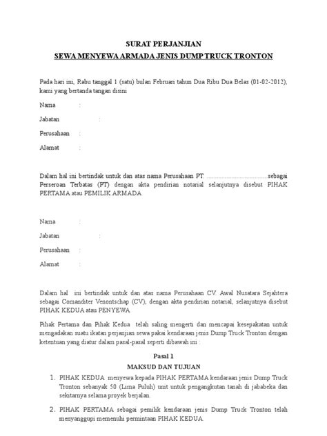 surat perjanjian dumptruk
