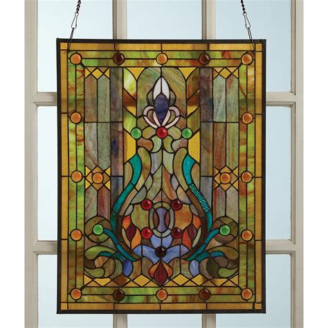 stained glass window panels style stained glass window panel hanging sun catcher floral ebay
