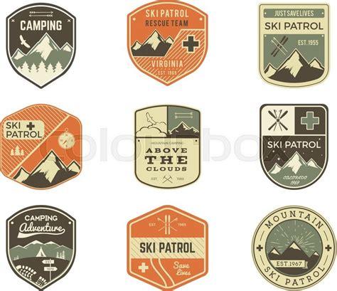 vintage classic design label elements set of retro style ski club patrol labels classic