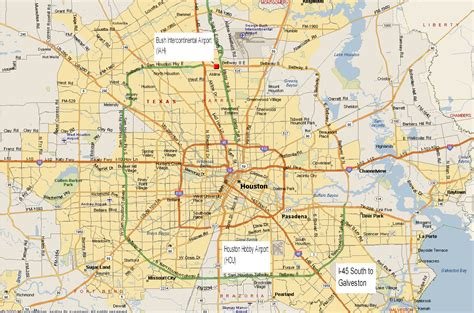 houston map by area airport info maps