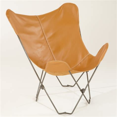 leather butterfly chair camel leather butterfly chair world market