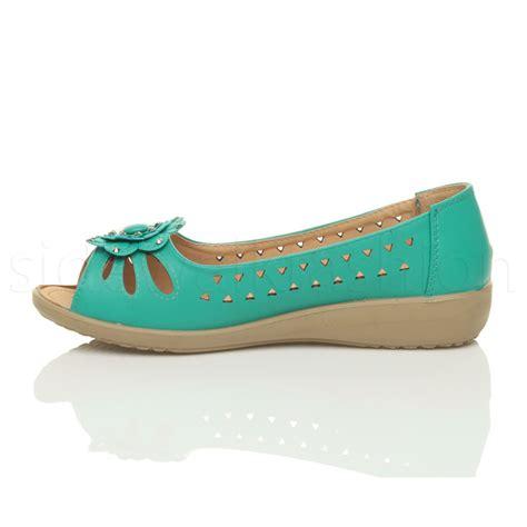 womens low wedge heel cut out peep toe comfort