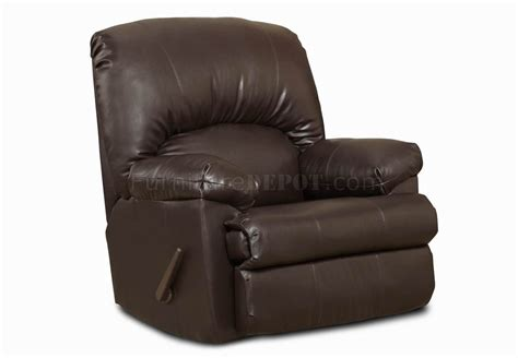 Brown Blended Leather Modern Comfortable Recliner