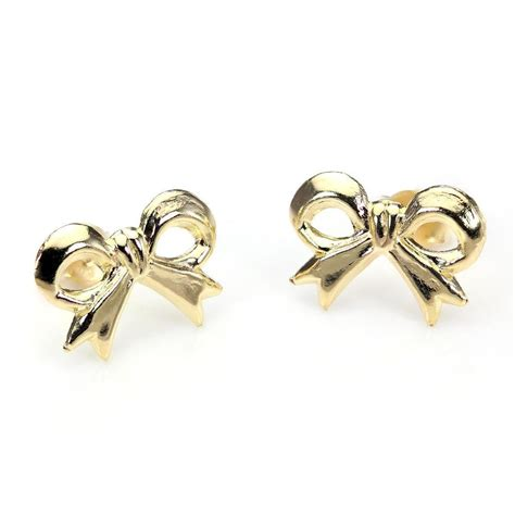 Gold Stud Earrings 9ct gold bow stud earrings studs earring ribbon ebay