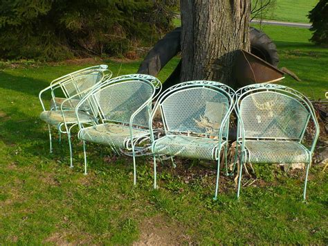 Wire Patio Chairs Vintage Mid Century Woodard 4 Expanded Metal Patio Chairs Ebay