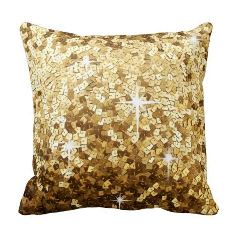 Glittery Pillows by Gold Sequin And Glitter Bling Pillow Zazzle