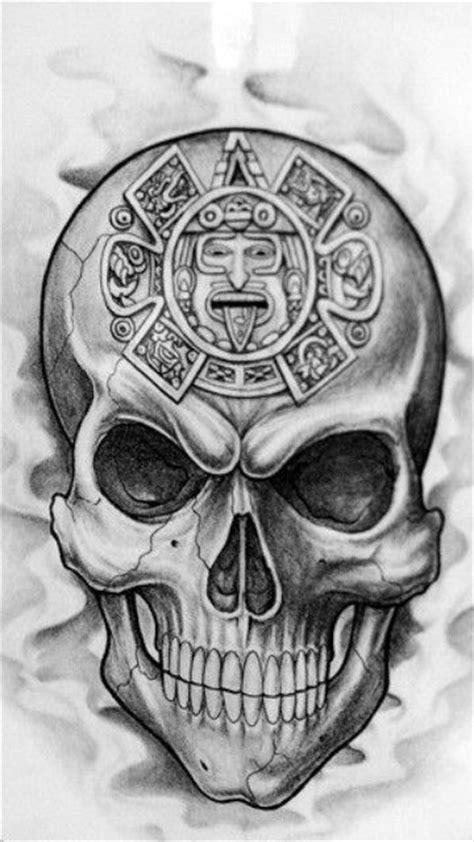 skull with aztec calendar skulls amp skeletons pinterest