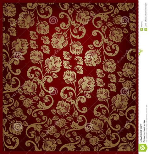gold red pattern seamless rose pattern gold and red stock photos image