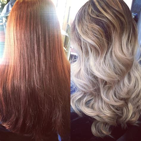 from platinum blonde to ombre from red to platinum blonde ombr 233 with highlights hair