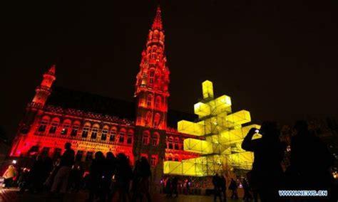 24 metre high electronic xmas tree illuminated in belgium