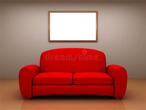 Sofa Mit Einer Armlehne Name by Rotes Sofa In Einem Raum Mit Einer Unbelegten Abbildung