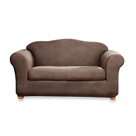 Brown Sofa Slipcover Sure Fit 174 Two Stretch Leather Sofa Slipcover In