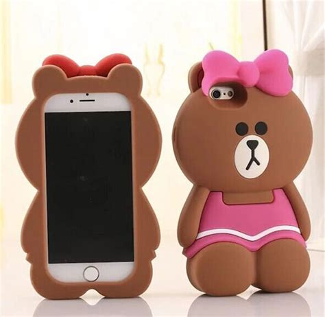 Iphone 5 5s 5se 3d Teddy Brown Soft Silicone Tpu Armor pink silicone for iphone 5 5s 6 6s